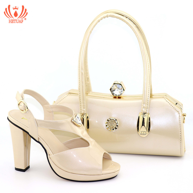 2019 Summer Italian Shoes with Matching Bags for Wedding Italy Nigerian Women Wedding Shoe and Bag Set Decorated with Rhinestone