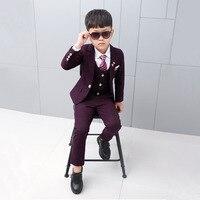 Dollplus 2019 New 3PCS Kids Plaid Wedding Blazer Suit Flower Boys Suits Formal Tuxedos School Kids Spring Clothes Children Suits