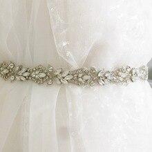 1 Yard Luxury Thin Opal Silver Embroidered Rhinestone Beaded Trim for Bridal Belt Wedding Dress Sash Trim