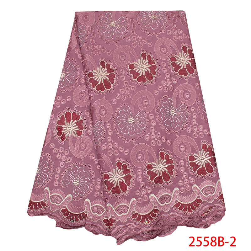 High Quality Swiss Voile Laces In Switzerland 2019 Embroidery Cotton African Lace Fabric Nigerian With Stones KS2558B-2