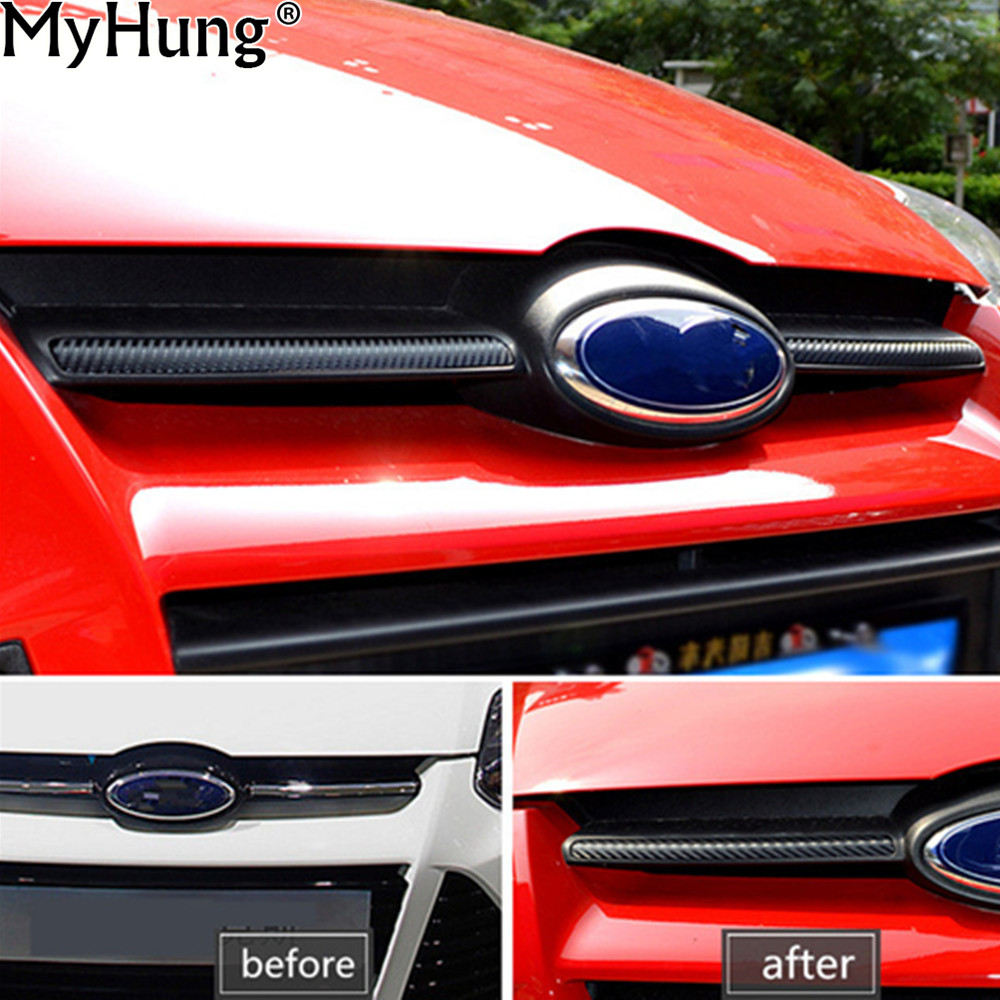 >Head Decorator Carbon Fiber Cover Sticker Front Grille Molding Lid Trim Air Intake Grid <font><b>Strip</b></font> <font><b>for</b></font> <font><b>Ford</b></font> Focus 2012 Car Styling