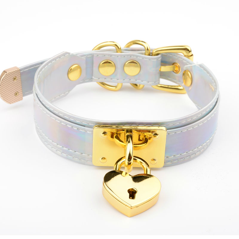 Handmade Holographic Heart Choker with Lock and Key Iridescent Rainbow Collar Layered Laser Necklace for Women Girls