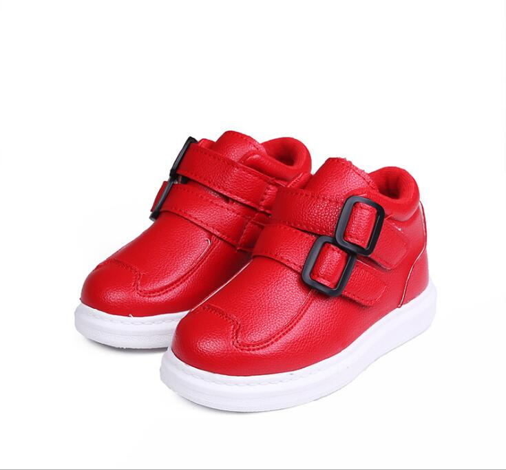 2018 autumn and winter new Korean childrens boots boys and girls Plus velvet boots Warm PU leather waterproof kids sneakers