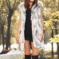 Senhoras Outono & Inverno Quente Sem Mangas Falso Outwear Colete De Pele Longo Colete Colete de Design Longo Colete Jaqueta com capuz Outwear