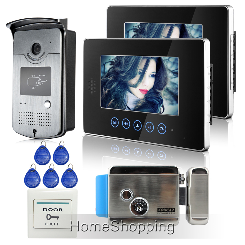 FREE SHIPPING Touch 7 inch Video Intercom Door Phone Doorbell System RFID Door Camera 2 Monitors