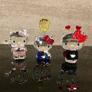 Image 2 - Figuritas de gatos de dibujos animados de cristal de alta calidad adorno de coche gato Aniaml pisapapeles regalo de boda Interior Multicolor, señora Favor regalo