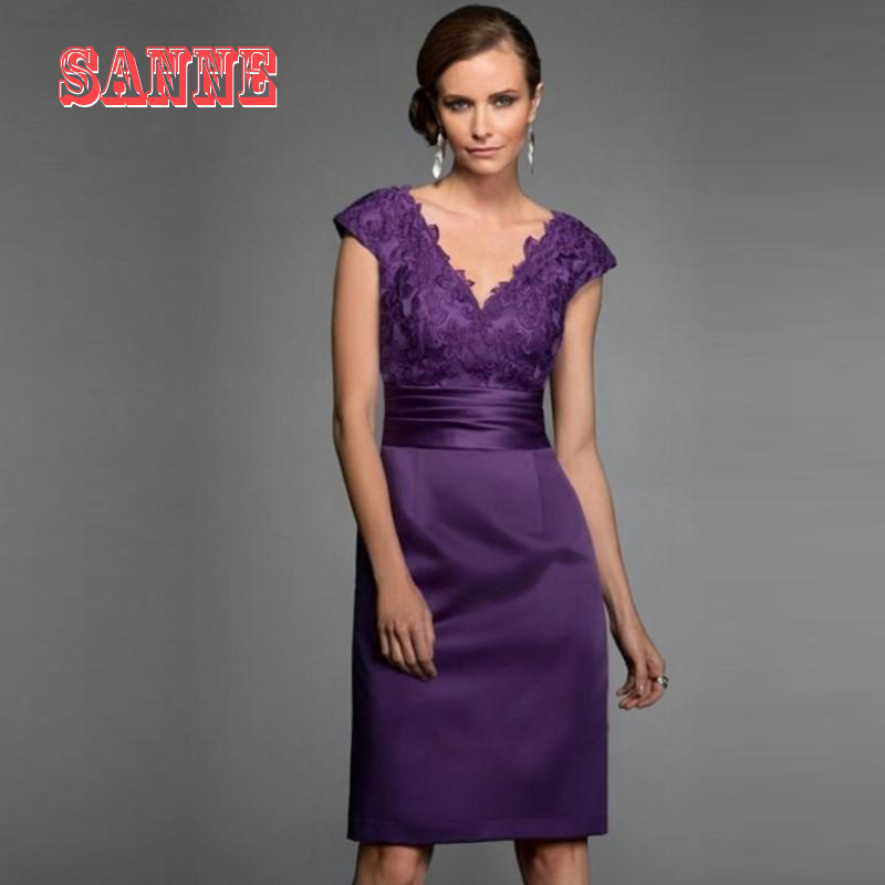 2016 Purple Mother Of The Bride Dresses Knee Length Gowns