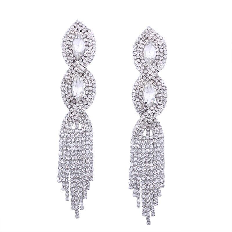 Lalynly проложили Стразы длинные серьги-кисточки большие золотые свадебные серьги для невест Роскошные ювелирные изделия серьги с камнями E08371 - Окраска металла: rhodium