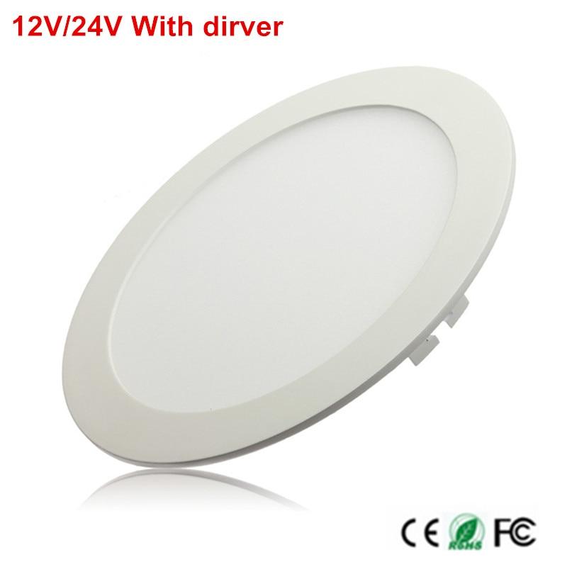 LED Panel Light Recessed Kitchen Bathroom Lamp 12V/24V 25W Round LED Ceiling Panel Light Warm/Natural/Cool White Free Shipping