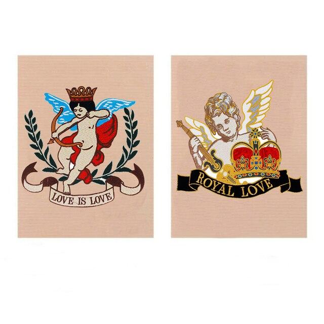 Large Embroidery Royal Love Fairy Cupid Arrow Crown Angel Wings