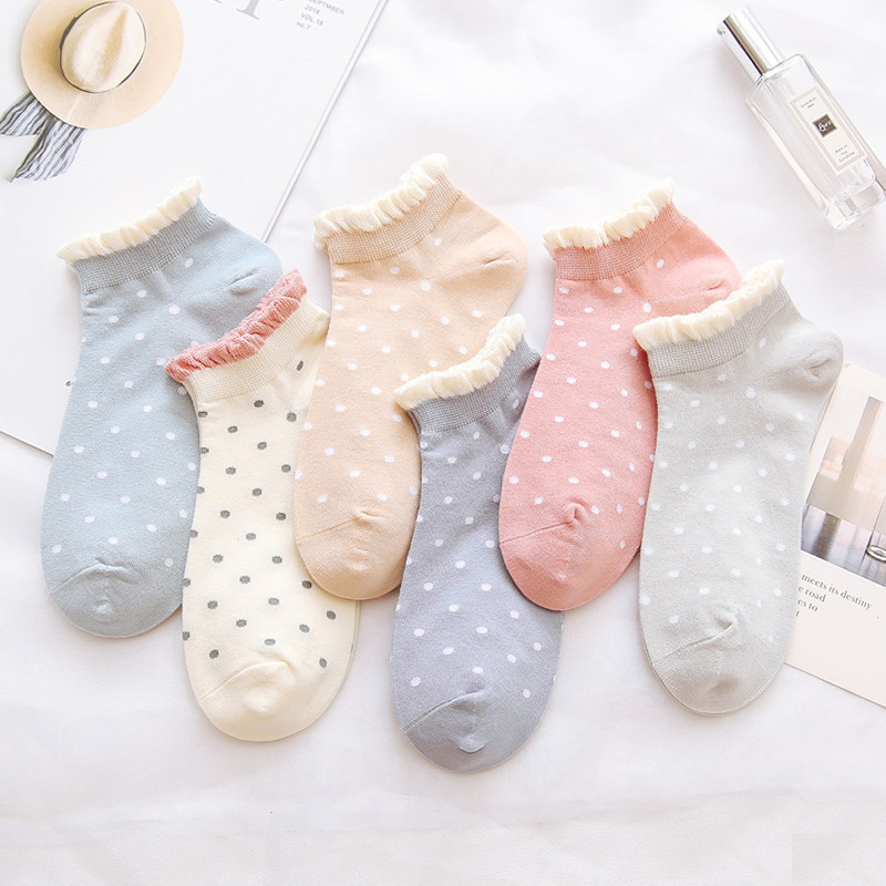 5 Pairs Of Women's Cotton Socks Ankle Socks Fun Cute Casual Boat Socks Cotton Low Waist Polka Dot Art Socks