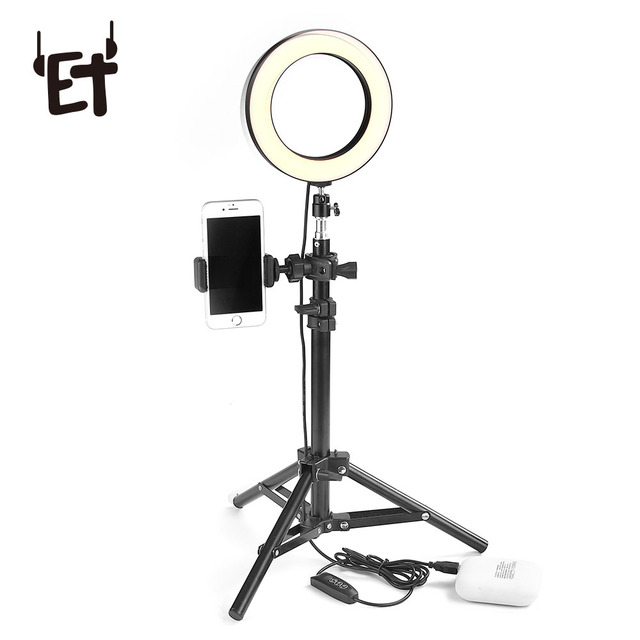 ET Desktop LED Ring Light Selfie Ring Lamp for iPhone Samsung Android Phones Professional Photo Studio Light with Phone Holder