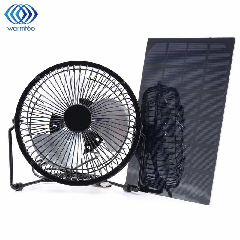 Black Solar Panel Powered +USB 5W Iron Fan 8Inch Cooling Ventilation Car Cooling Fan for Outdoor Traveling Fishing Home Office 1 5w solar powered auto car battery charger black