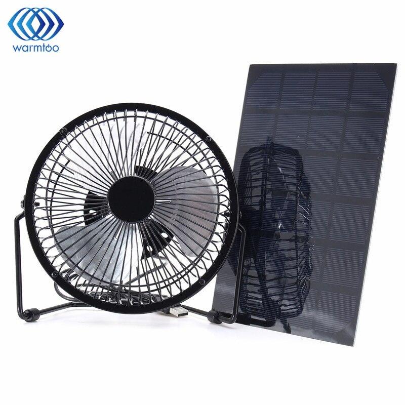 Panneau solaire noir alimenté + ventilateur de fer USB 5 W ventilateur de refroidissement de voiture de Ventilation de 8 pouces pour l'extérieur voyage pêche bureau à domicile