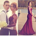 Mermaid Prom Dress 2017 Custom Made Long Sleeve Lace Burgundy sexy Hot Sale Long Mermaid Evening Party Dress For Graduation