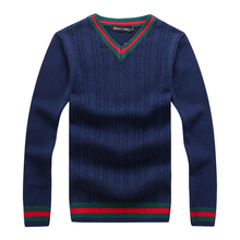Men Winter Warm Wool Sweater Casual Hit Color Patchwork V-neck Pullover New 2017 Men Brand Slim Fit Cotton Sweater Sudaderas 3XL