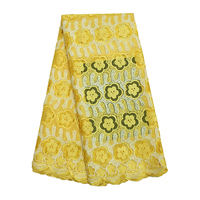 FL0210 French Lace Fabric With Stones High Quality Yellow Color Cord Lace Fabric African Lace Fabric For Women