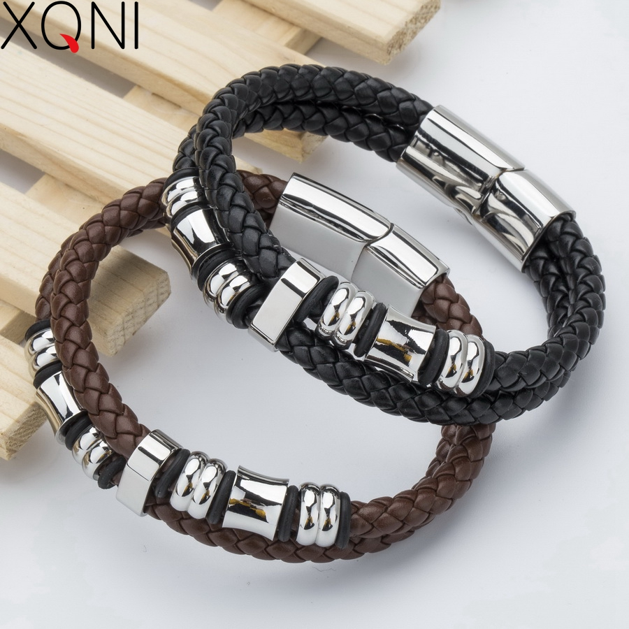 New 2017 Fashion Brand Genuine Leather Bracelet For Men High Quality Knight Courage Charm Stainless Steel Bracelets Bangles