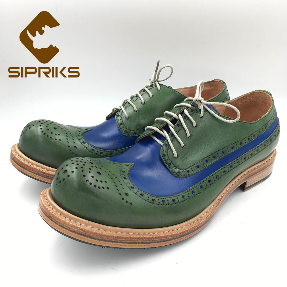 Sipriks Mens Wingtip Shoes Vintage Painted Blue Green Leather Brogue Shoes Custom Goodyear Welted Gents Suit