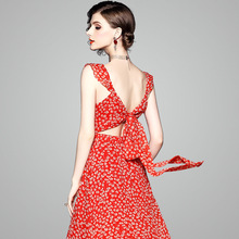 Chiffon print sexy open back sleeveless beach party a line long dress 2019 new high quality office lady women summer dress sexy plunging neckline sleeveless open back a line chiffon dress for women