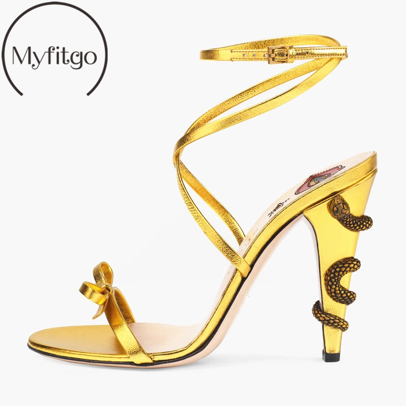 Myfitgo Band Straps Women Summer Sandals Bowknot 10CM High Heel with Snakes Ladies Party Dress Shoes