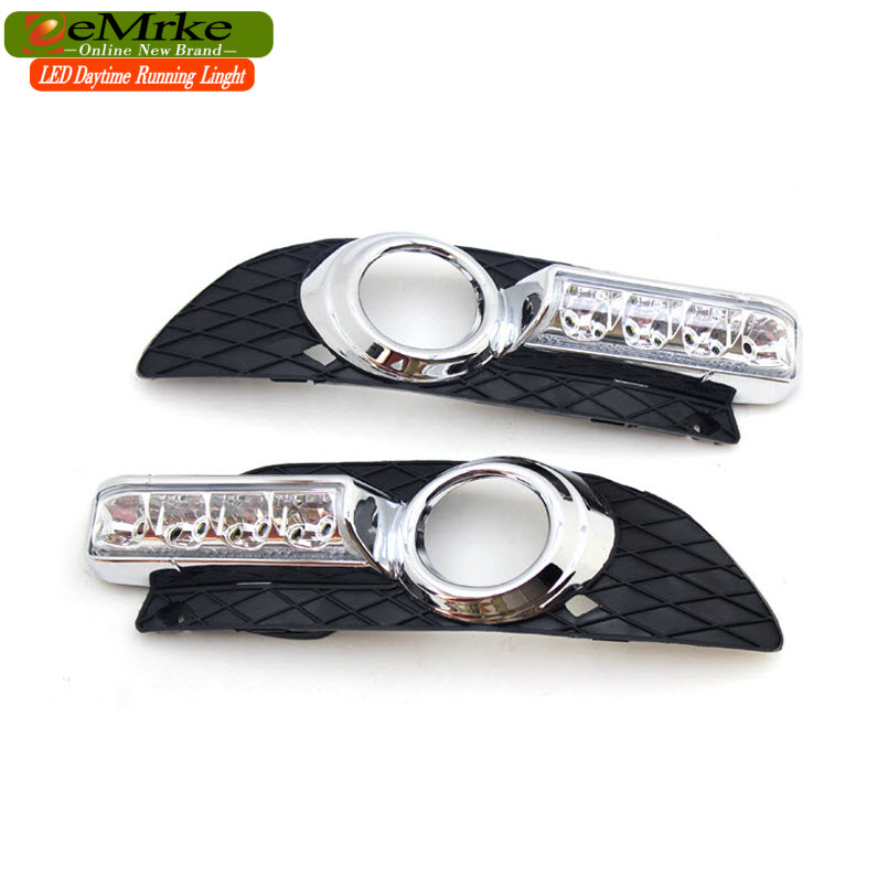 eeMrke Car LED DRL For Ford Escort 2013 High Power Xenon White Fog Cover Daytiem Running Lights Kits
