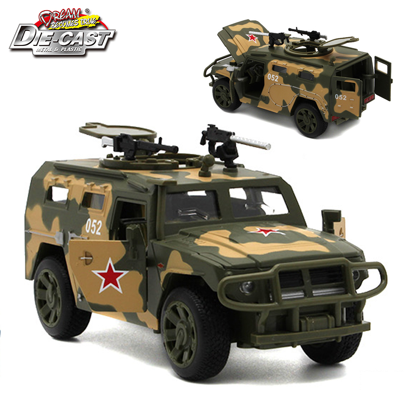 15CM 1/32 Scale Diecast Russian GAZ JMP-2 Tiger Military Model Army Car For Boys As Toys With Functions