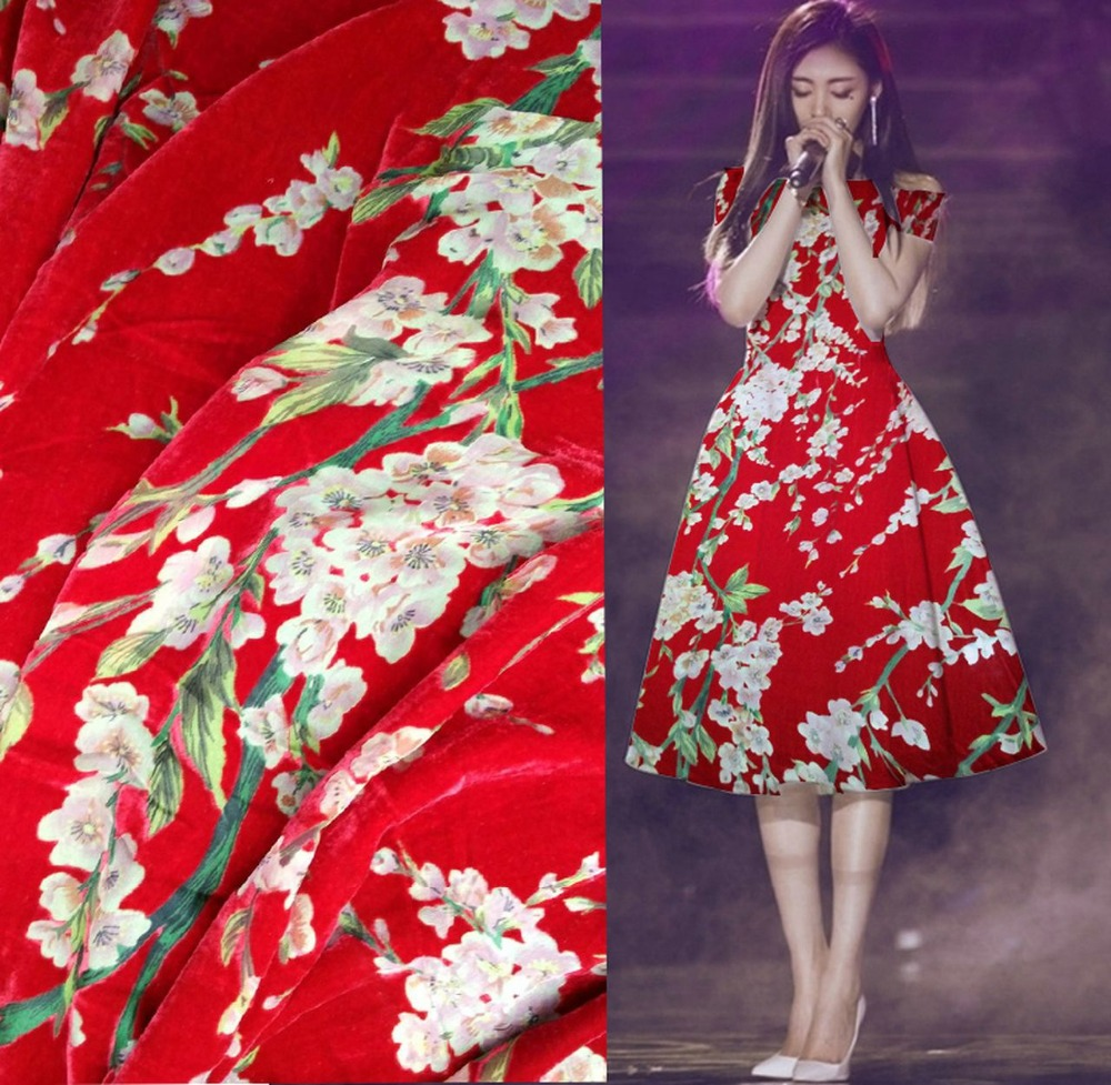 Crazy discount luxe dentelle rouge prune fleurs flocage burnout velours tissu soie velours coton tissu pour robe tissus au metre
