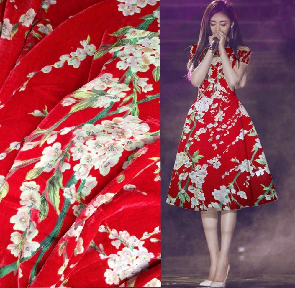 Crazy Discount Luxury Lace Red Plum Flowers Flocking Burnout Velvet Fabric Silk Velvet Cotton Fabric For Dress Tissus Au Metre