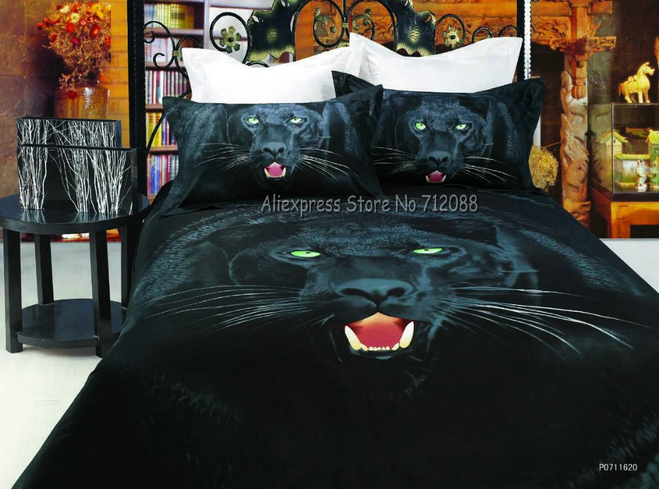 Home Textile 100% Cotton Cool Black Leopard Duvet Cover Sets Oil Painting  4pcs For Full/queen Bed Comforter Quilt Doona Cover In Bedding Sets From  Home ...