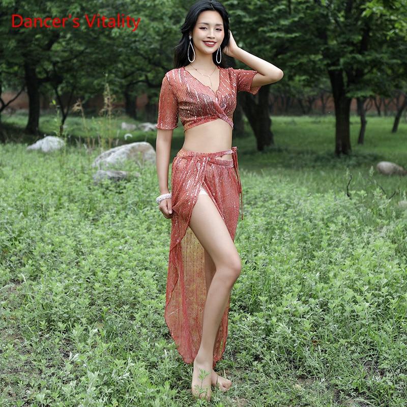 Wholesale Team 2 Dance Suit Set Soft Women's Tank Top V neck Sequins Split Skirt Competition Belly Dance Set