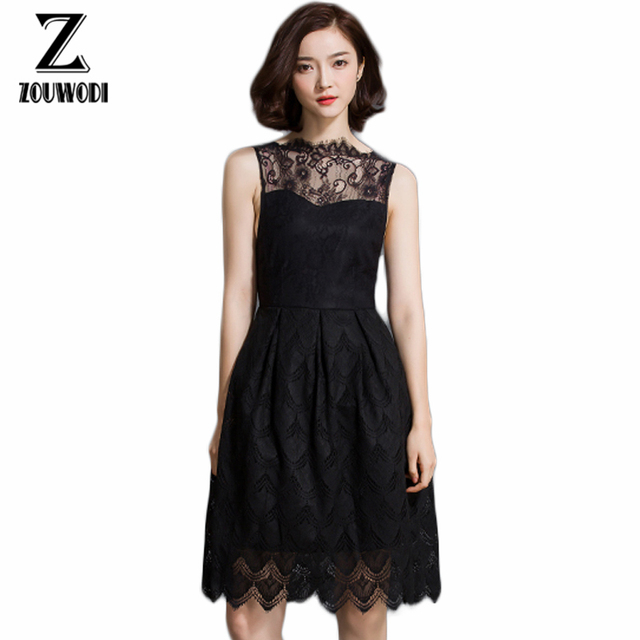 Us 2536 Zouwodi 2017 Elegant Lace Dress Stand Collar Sleeveless Hollow Out Women Summer Ol Dresses Business Casual Black Dress Elegant In Underwear