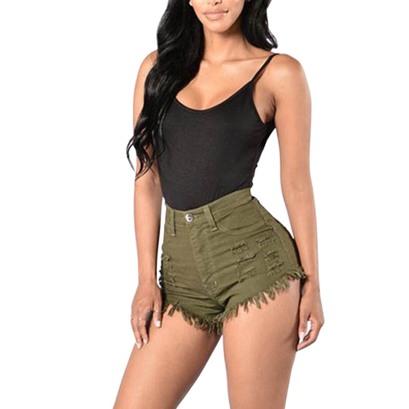 Fashion Summer Women Sexy Denim Shorts Elastic High Waist Solid Color Frayed Tassel Lady Girls Casual Tight Jeans Shorts TY66 image