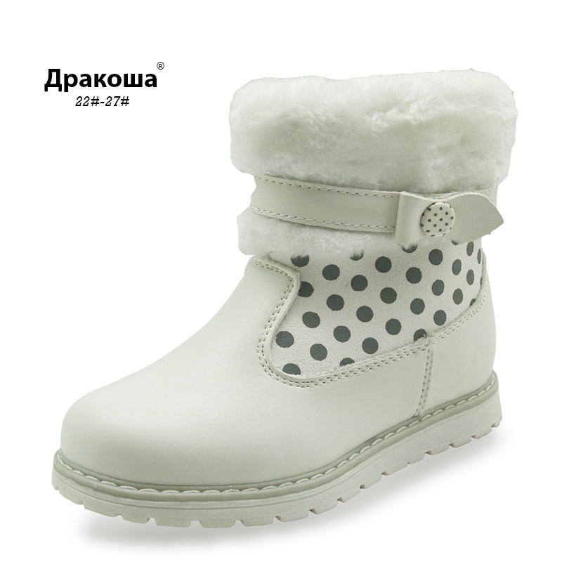 CNOHEHOK New toddler kids girls mid-calf snow boots girls waterproof winter boots warm woolen lining toddler boots for girls