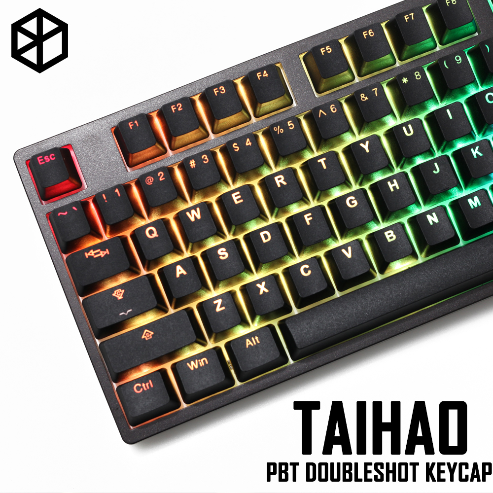 taihao pbt double shot keycaps for diy gaming mechanical keyboard Backlit Caps oem profile light through