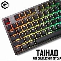 Taihao pbt teclado mecânico de tiro duplo  tampas para teclado de jogo diy  luz de perfil do oem através da preta