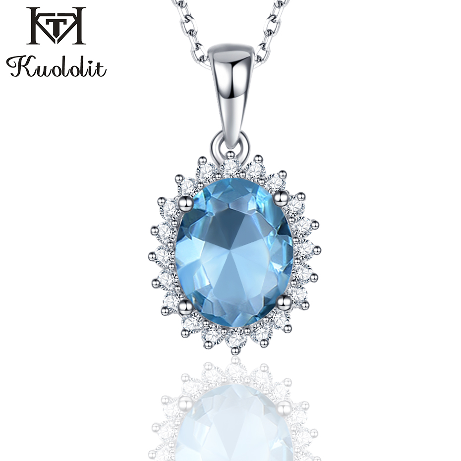 Kuololit Natural Sky Blue Topaz Gemstone Pendants Necklaces For Women 925 Sterling Silver Jewelry Wedding Engagement Jewelry New