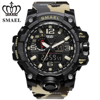 SMAEL Brand Men Watches Dual Time Camouflage Military Watch Digital Watch LED Wristwatch 50M Waterproof Men