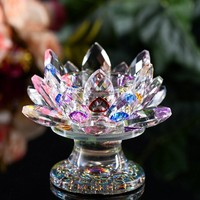 Crystal candlestick Glass Lotus colorful 85*110mm Flower Candle craft Holders Big Tealight wedding centerpieces Birthday gifts