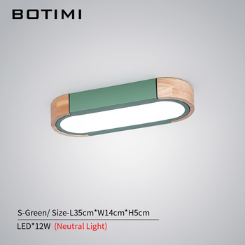 BOTIMI Office 220V LED Ceiling Lights With Metal Lampshade For Living Room Long Shaped Bedroom Wooden Surface Mounted Lighting 14