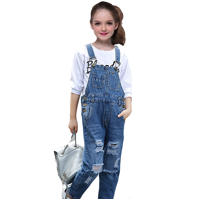Girls Sets for Kids Denim Overall Pants 2018 New Hot Casual Broken Hole Jeans + T-shirts 2pcs Children Clothes 6 8 10 12 Years new 2017 spring girls lace flower denim jacket t shirt jeans clothing sets 3pcs kids clothes sets girls casual denim suit