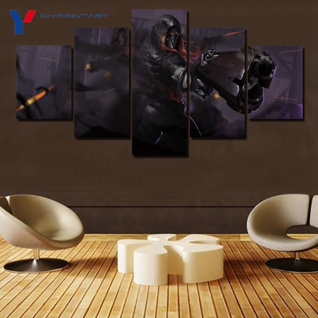 Overwatch Reaper 5 Panels Canvas Art Game Poster Canvas Pictures for Living Room A0369 5