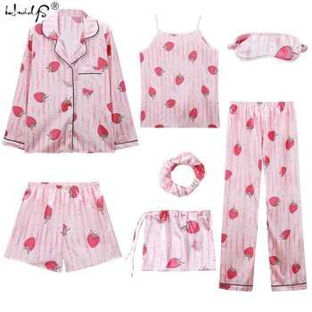 2019 Women 7 Pieces Pajamas Sets Stripe Printing Satin Silk Pajamas Women\'s Sleepwear Lovely Home Clothing Long And Short Pijama