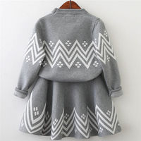 Fashion Trendy Toddler Kids Baby Girls Outfit Clothes Long Sleeve Knitted Sweater Tops Skirt Set Autumn