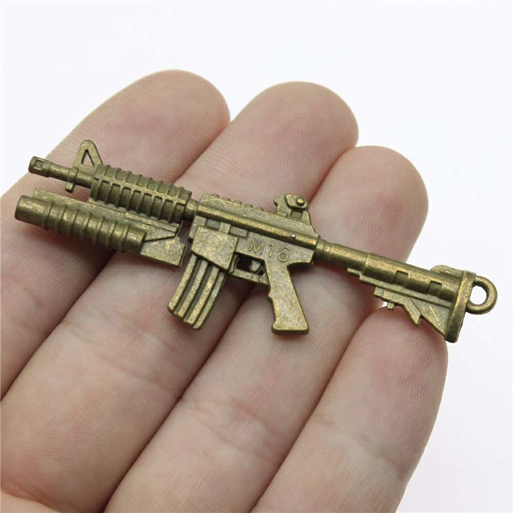 Jewelry Making Diy Handmade Craft Charms 4pcs/lot Antique Bronze Color 2.6x0.9 inch (66x23mm) Gun Pendant