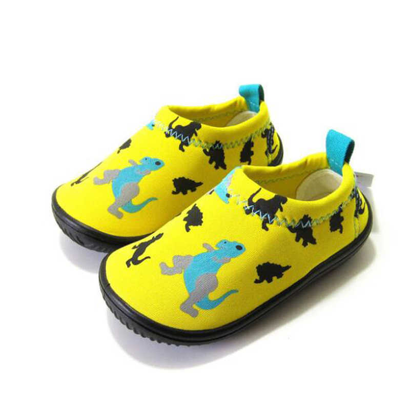 Kindergarten baby indoor toddler shoes children soft stretch fabric shoes a pedal boys and girls shoes with yellow dinosaur