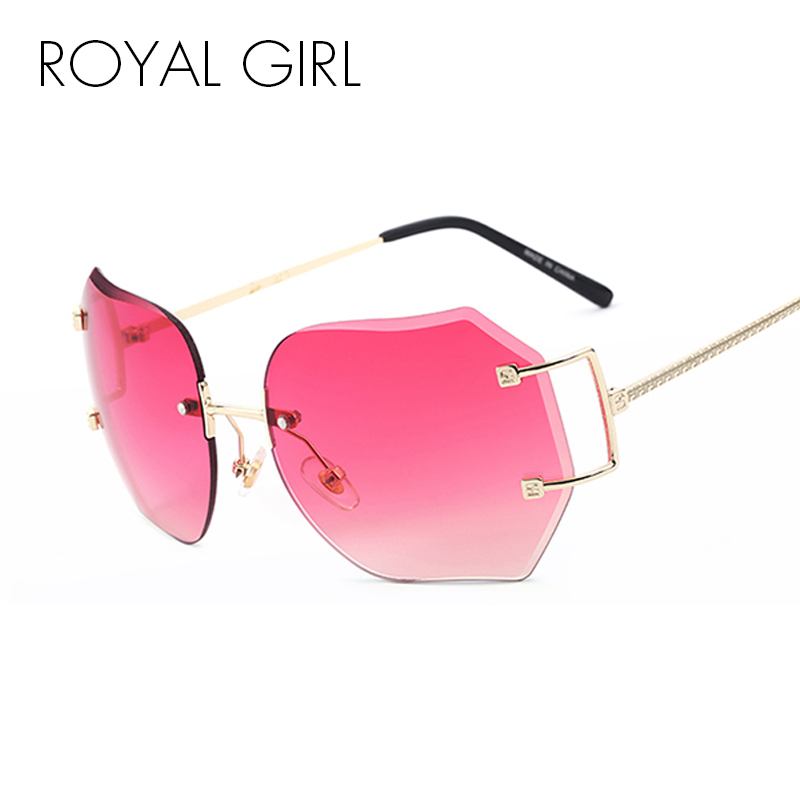 ROYAL GIRL Women Unique Rimless Solglasögon Oversize Vintage Frames Shades Ombre Eyeglasse ss354