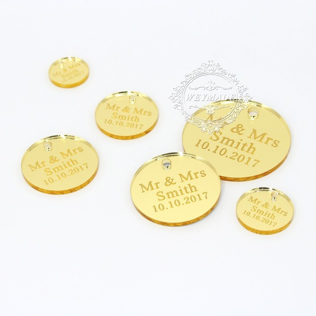 100 Pieces Personalized Gold Coins Wine Charm For Wedding Favors
