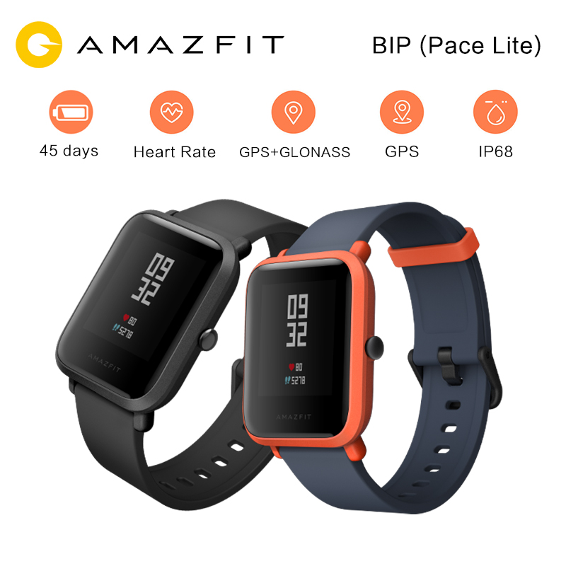 Original Huami Amazfit Bip Pace Lite Sports Smart Watch Youth Edition GPS Heart Rate Monitor 45 Days Standby IP68 for Andoid IOS huami amazfit pace replacement strap black green