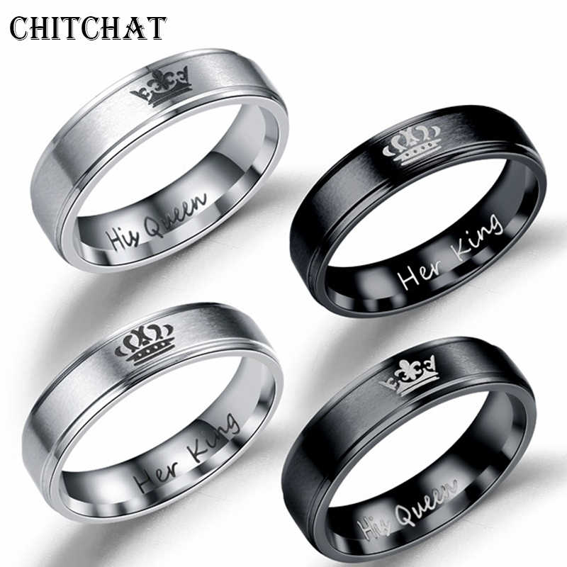 Promise Couple Rings Trendy Her King His Queen Crown Charm